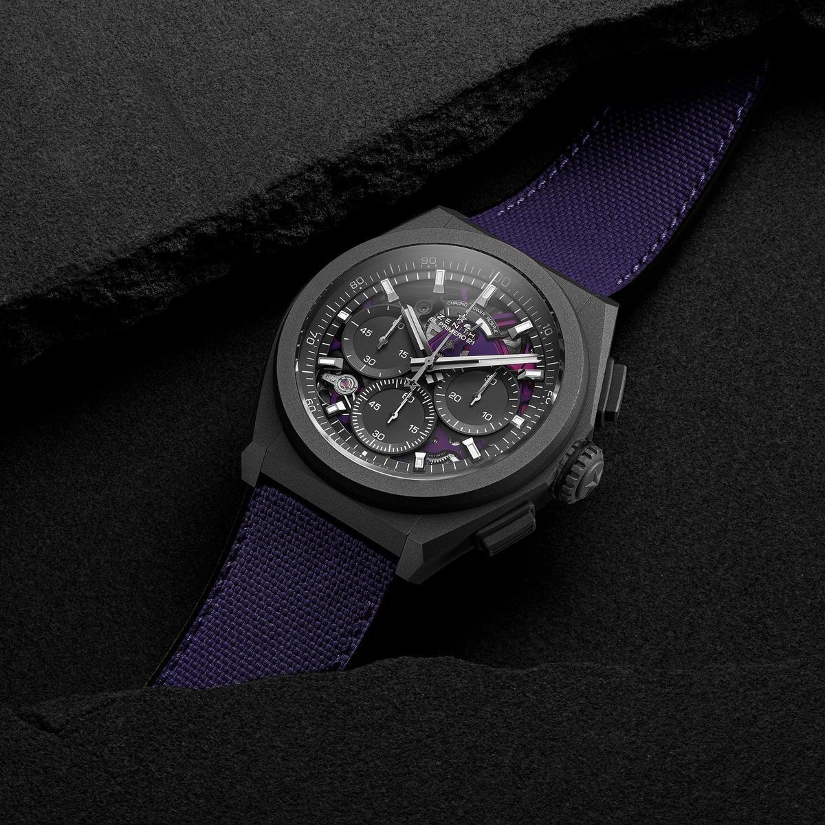 ZENITH把彩色玩到機芯上,未來預告有更多繽紛選擇。Defy El Primero 21 Ultraviolet腕錶,定價NT$430,600。