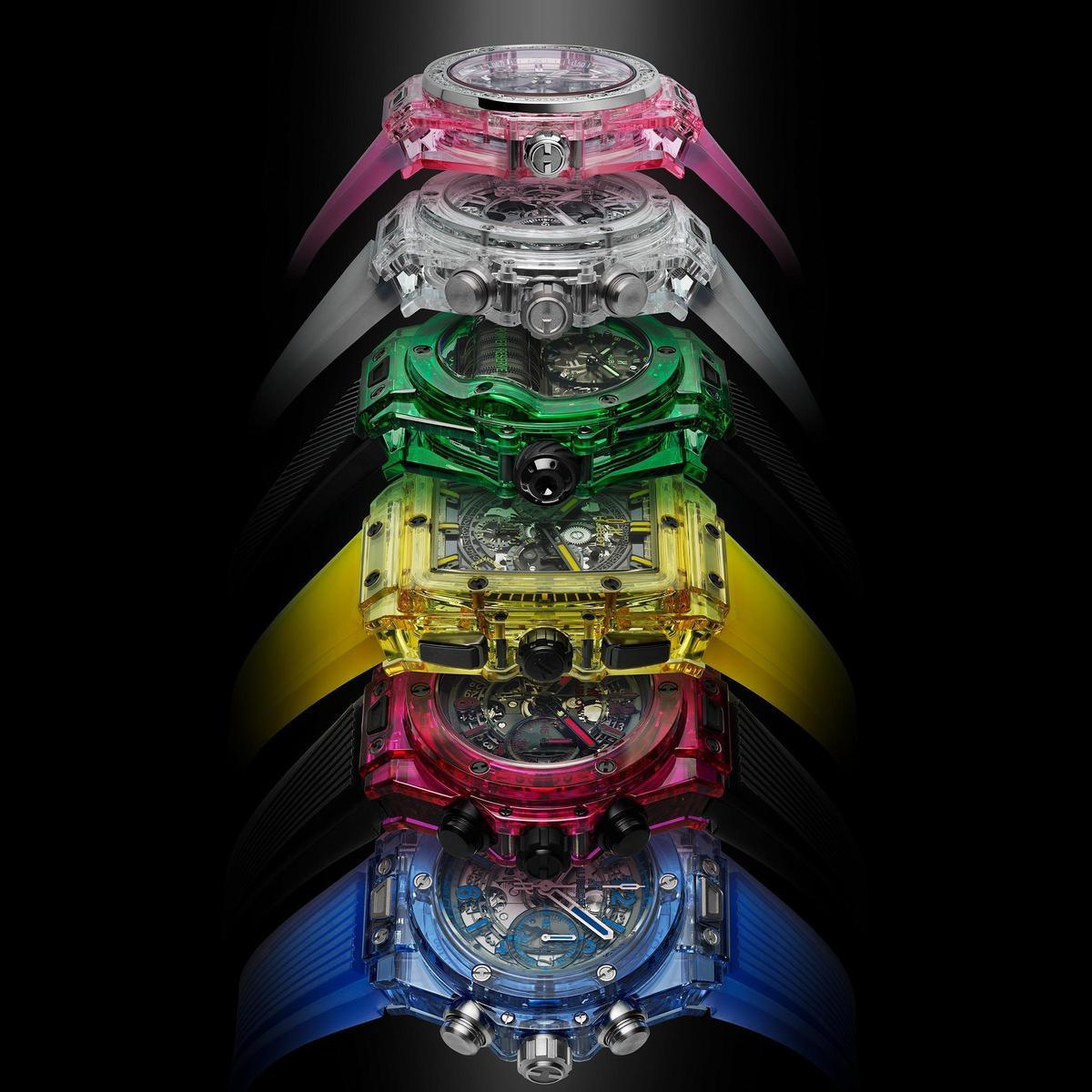 HUBLOT堪稱近代材質發明家,從最初透明藍寶石水晶錶殼開始,變化出不同色調選擇。