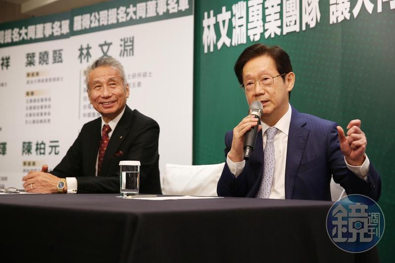 大同經營權大戰進入白熱化,市場派主帥王光祥(左)找來政商人脈豐沛的林文淵(右),引外力對抗公司派。