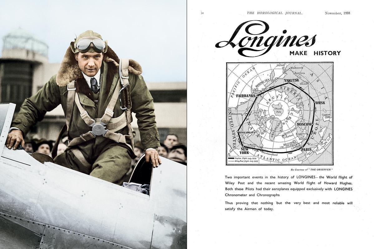 浪琴在歷史上曾為許多飛行員與冒險家打造精密時計,比如說知名飛行員Howard Hughes就是其中一。