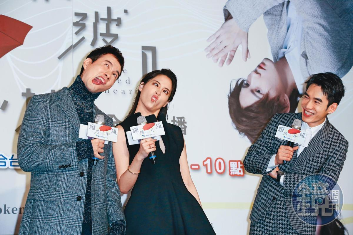 歐陽龍的大女兒歐陽妮妮(中)挑大梁主演《腦波小姐》上檔,與張書豪(右)、張捷(左)現身首映會,扮鬼臉搞笑。
