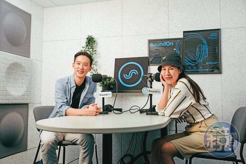 顧立楷(左)創辦本土Podcast平台SoundOn,邀請丹妮婊姐(右)等多位創作人製作節目。