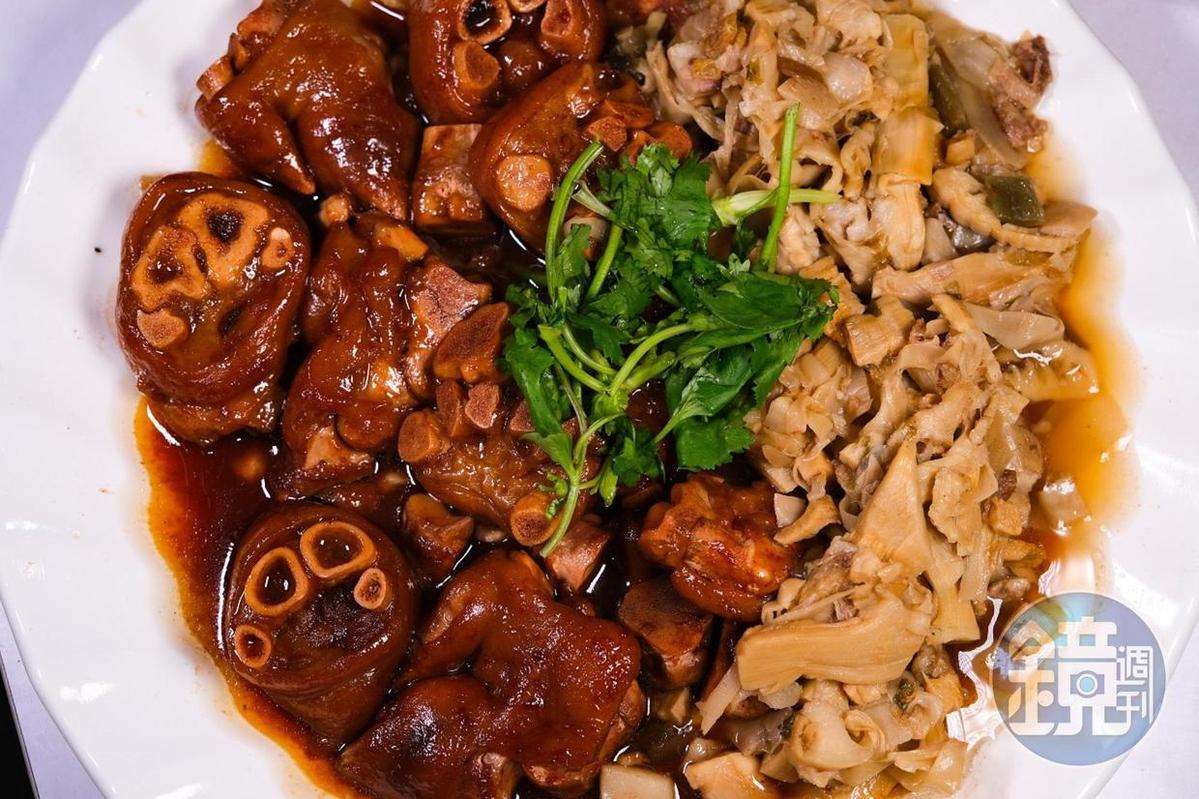 軟嫩充滿膠質的「古坑筍乾烘豬腳」,連骨頭都可咀嚼入口。(2,500元桌菜菜色)