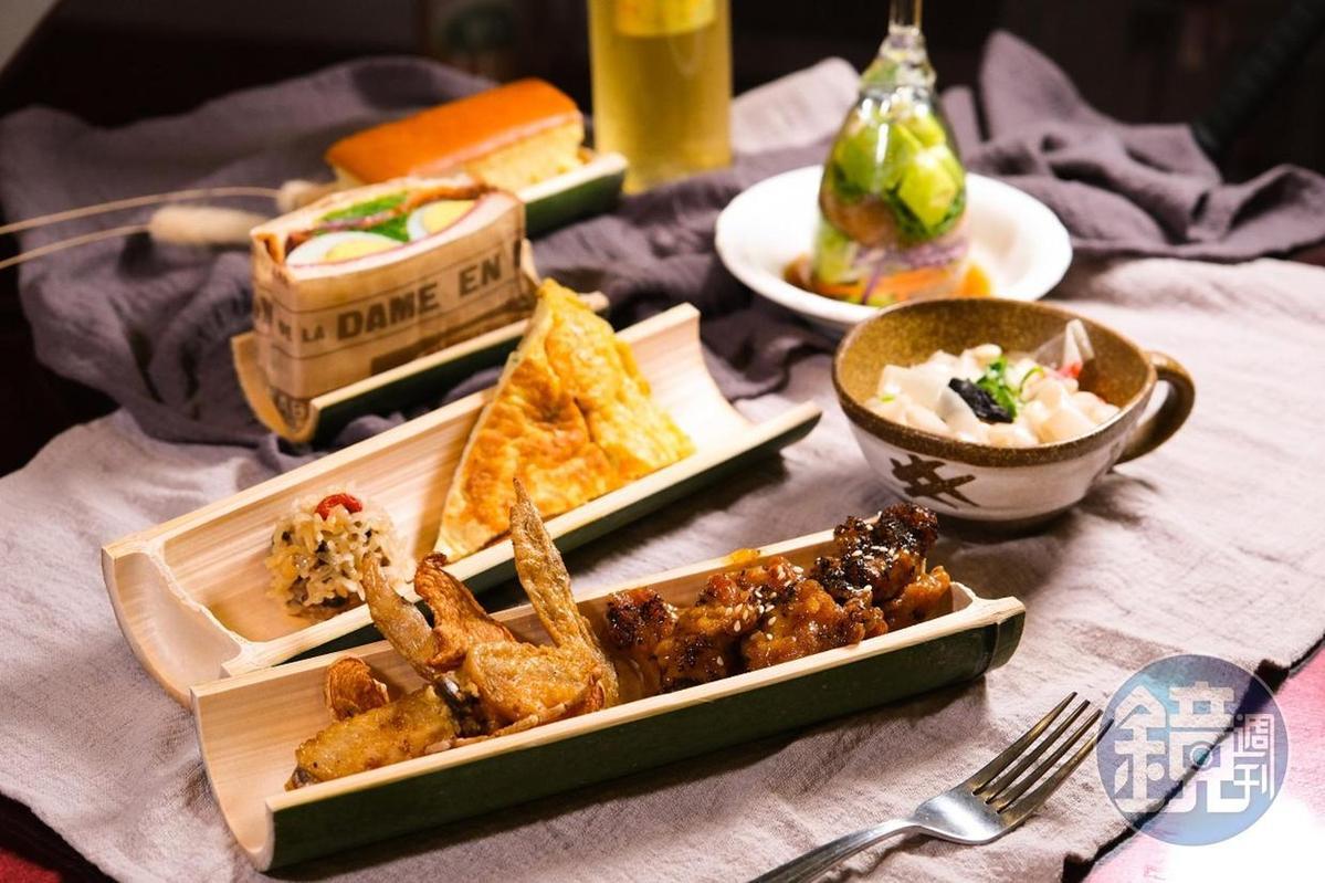 華山社區結合在地6項特產:香菇、苦茶油、竹筍、茶葉、咖啡及蜂蜜,推出的「華山六寶風味餐」。(399元/套,限10人以上預約)