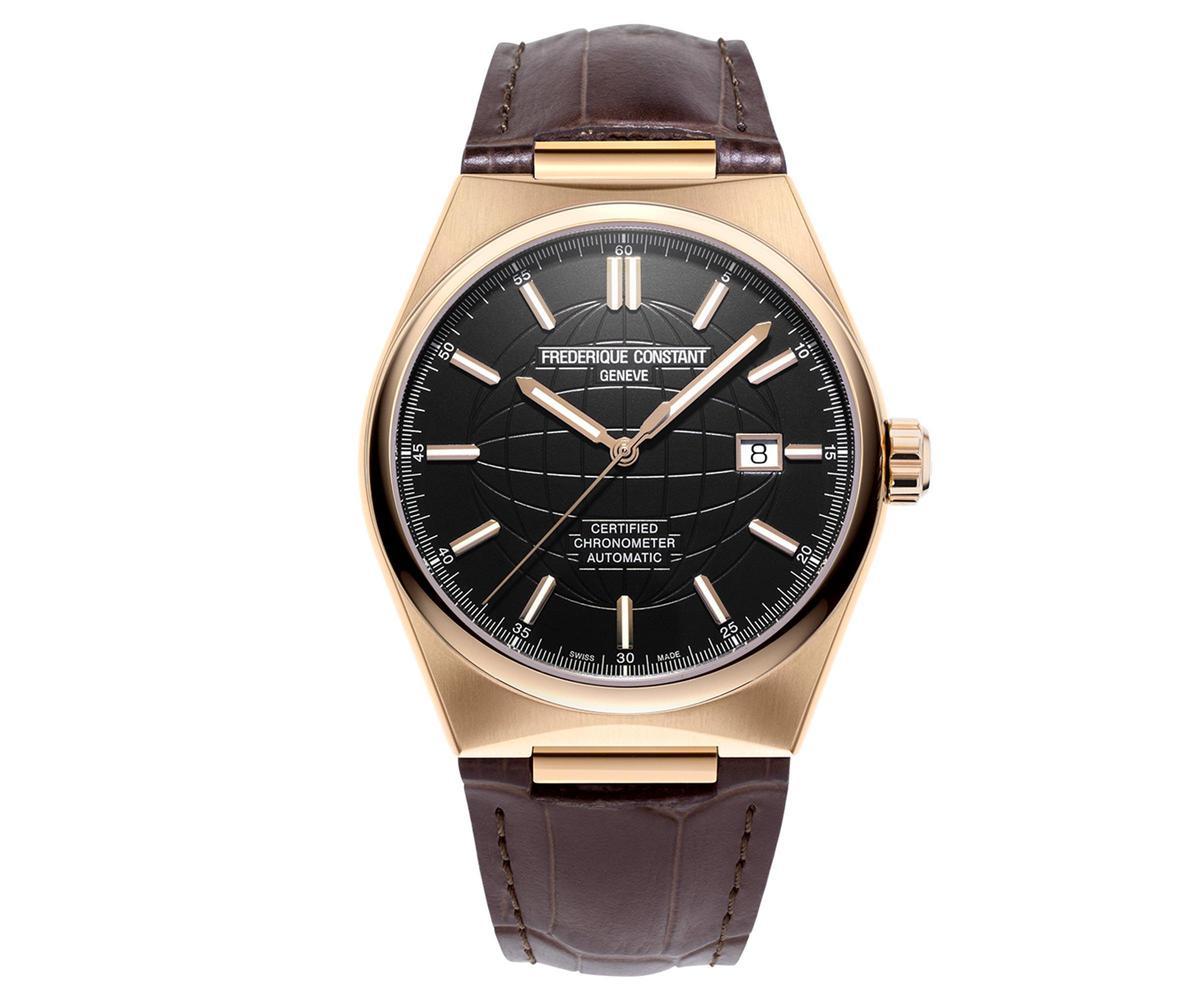 Highlife雋雅COSC天文台認證自動腕錶,玫瑰包金款式,搭配褐色牛皮錶帶,建議售價NT$69,800。