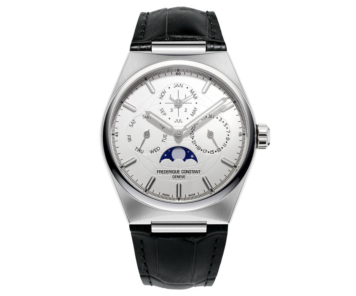 Highlife雋雅自製機芯萬年曆腕錶,不鏽鋼錶殼搭配黑色錶帶,建議售價NT$296,000。