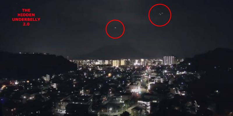 日本鹿兒島上野城的24小時直播,意外拍攝到不明飛行物體。(翻攝自The Hidden Underbelly 2.0 YouTube頻道)