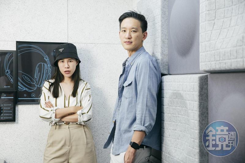 顧立楷(右)創辦本土Podcast平台「SoundOn」,找來人氣網紅丹妮婊姐合作。