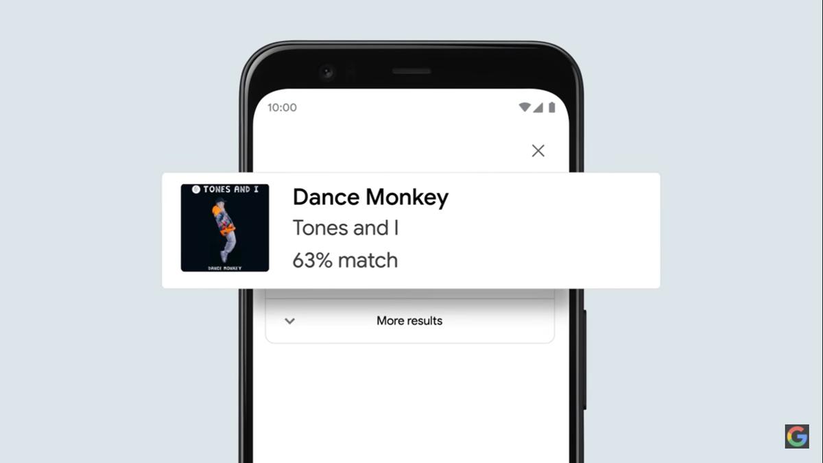畫面上甚至還會顯示搜尋結果與使用者所哼唱的歌曲有多相符。(翻攝自「Google」YouTube)