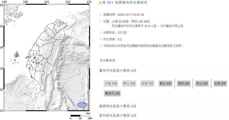晚間20時07分在台南市東山區又發生芮氏規模4.2地震。(翻攝自氣象局官網)