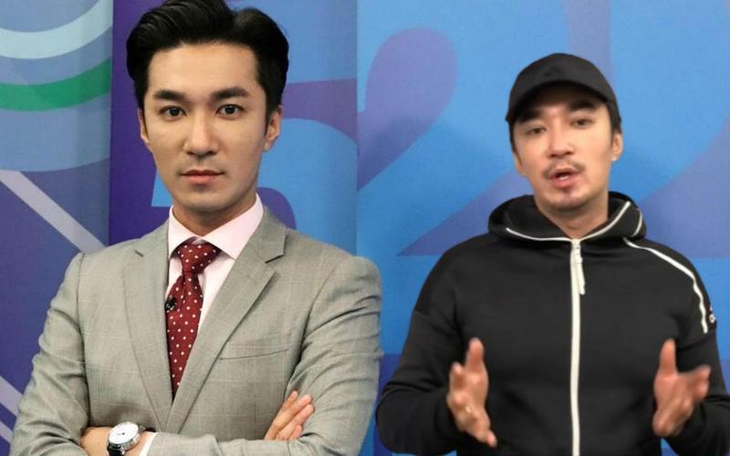 王又正轉戰YouTube,他蓄起鬍子(右圖),與中天當主播西裝筆挺的樣子(左圖)差很大。(翻攝自正常發揮頻道、《新聞深喉嚨》)