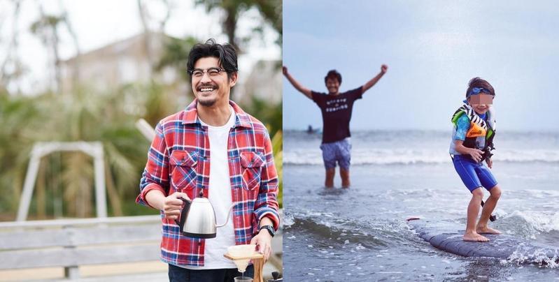 日星坂口憲二(左圖)在自家咖啡店IG上公開看著大兒子衝浪的照片,首度曝光父子合照。(翻攝The Rising Sun Coffee IG)