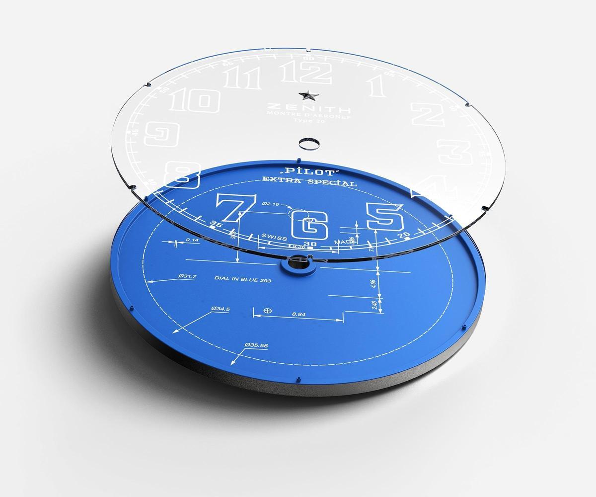 Pilot TYPE 20 Blueprint腕錶的面盤採用雙層設計,下方藍色面盤裝飾藍圖線條,上方則是寫有刻度與品牌Logo的藍寶石水晶,營造出深邃的視覺效果。