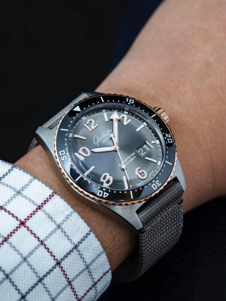 格拉蘇蒂原創SeaQ潛水錶戴在手上獨具一格,非常有視覺效果與特色。