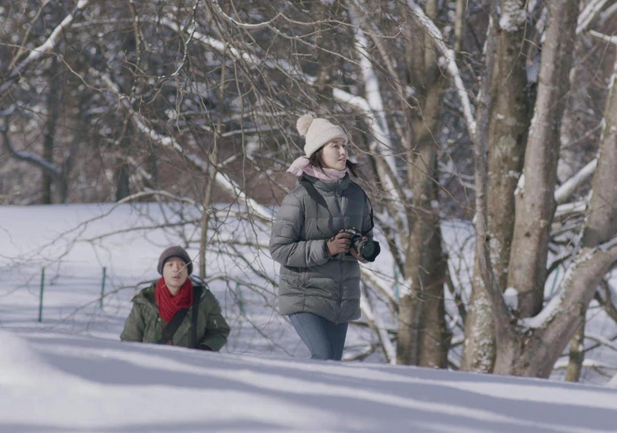 峯田和伸與橋本愛實都是首度演出台片,橋本愛實更力推片中山形的雪景,十分浪漫美麗。(海鵬提供)