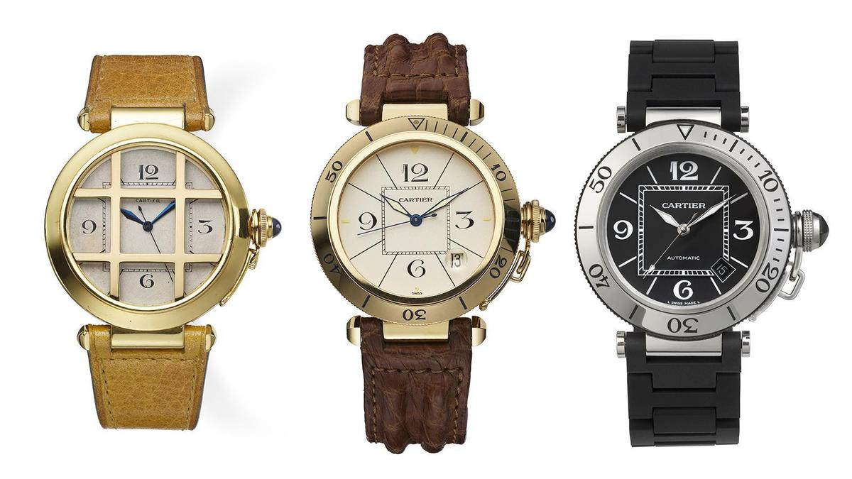 從1943年的第一款訂製款Pasha(左)開始,就奠定了Pasha的基本樣貌,到了1985年Pasha量產正式成為卡地亞旗下的系列(中),之後推出的錶款風格也很多元,像是圖右這款就是2006年推出的運動風Pasha,是Pasha系列很少見的運動款。
