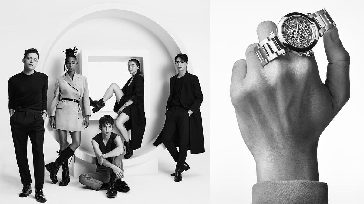 卡地亞為Pasha找來主演《波希米亞狂想曲》的Rami Malek(合照最左邊)等五位新生代象徵,在形象廣告的操作上也主打有型有款的時尚路線,企圖翻轉Pasha過去給人比較成熟的既定形象。