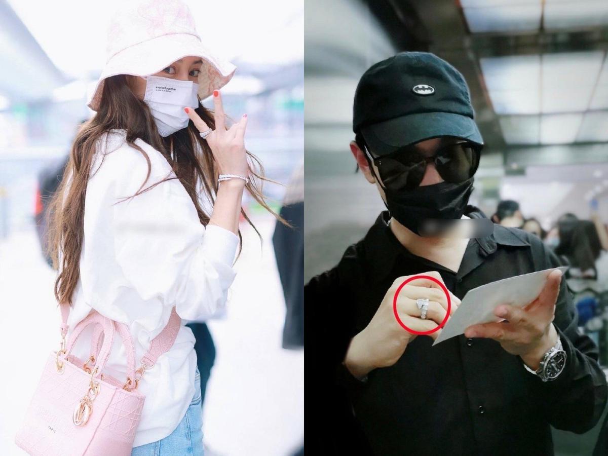 日前Angelababy在機場被發現戴的戒指,與黃曉明8月戴的是同款情侶戒。(翻攝自微博)
