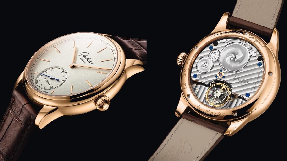 格拉蘇蒂原創這次推出將飛行陀飛輪低調藏在錶背的設計,從正面幾乎看不出玄機,從小秒盤上的字樣才看出端倪。而四分之三夾板的日內瓦波紋打磨、藍鋼螺絲搭配黃金套筒,也是很德式的製錶語彙。