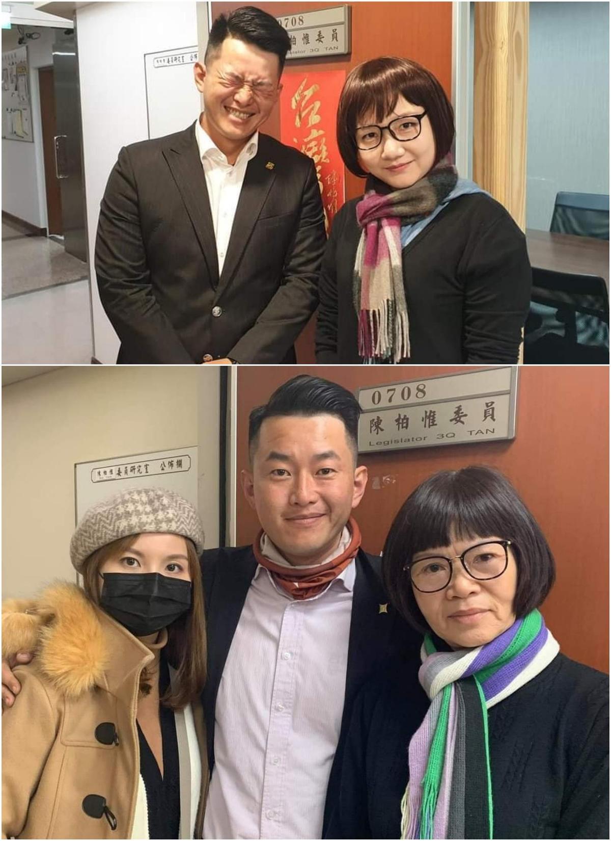 陳柏惟辦公室主任(上圖右)萬聖節玩變裝,竟真的「扮你媽」(下圖右),笑翻許多網友。(取自陳柏惟臉書)