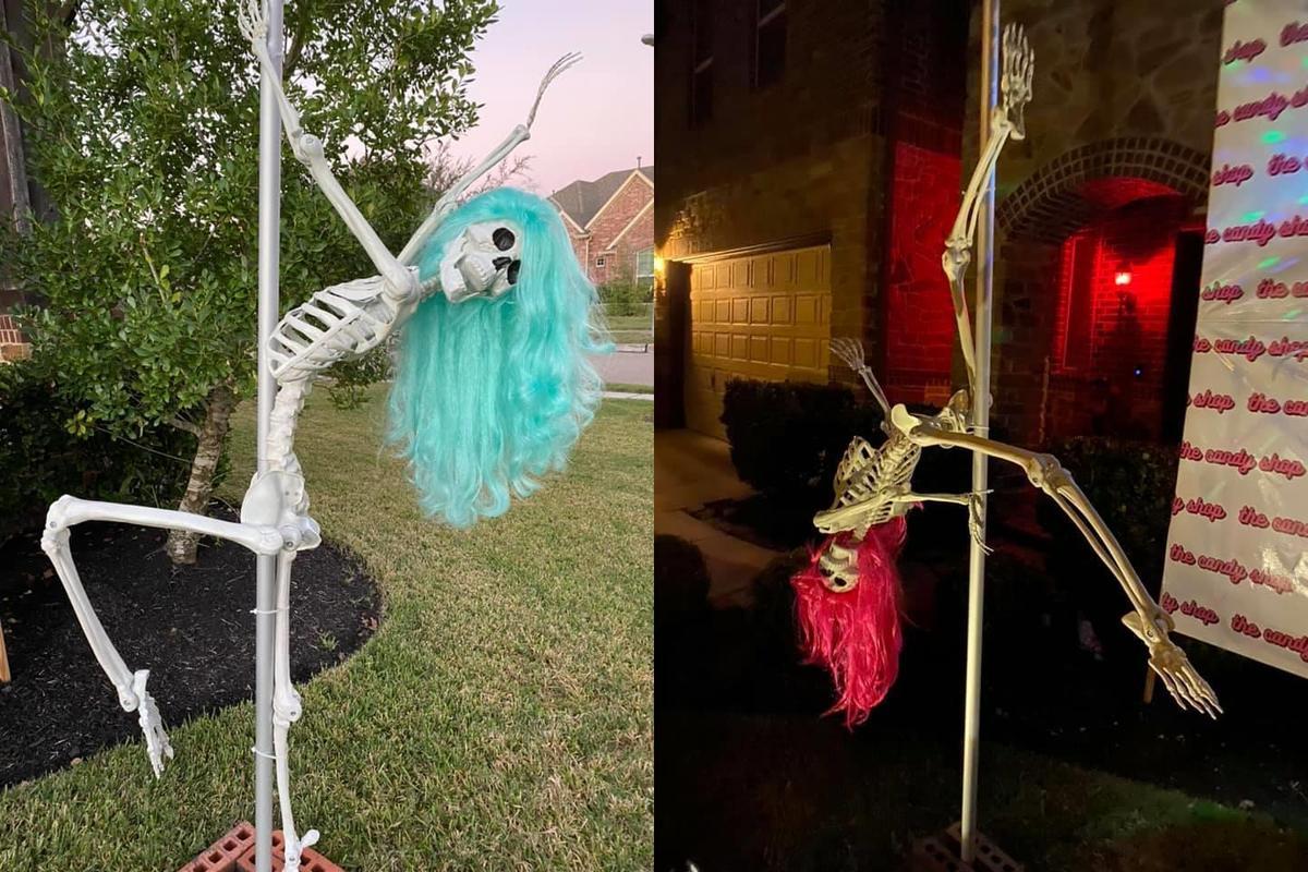 美國德州一名女子萬聖節把自家庭院變成「脫衣俱樂部」,創意無限引熱議。(截自Angela Nava臉書)