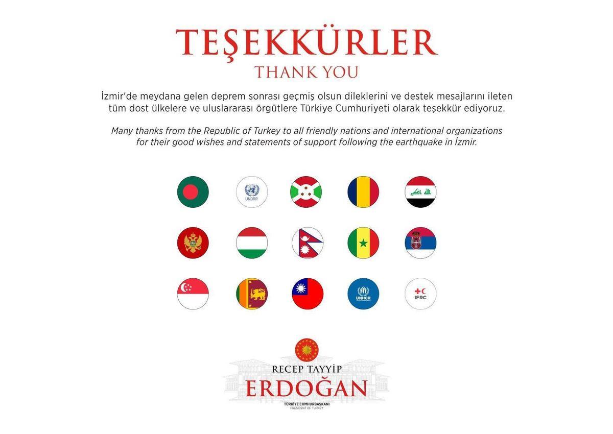 愛琴海強震重創土耳其,土耳其總統艾爾段感謝各國及機構幫助。(翻攝自艾爾段推特)