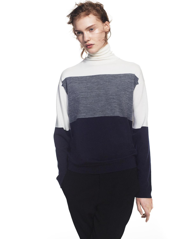 +J美麗諾混紡高領毛衣長袖女裝。NT$1,290。(台灣優衣庫提供)