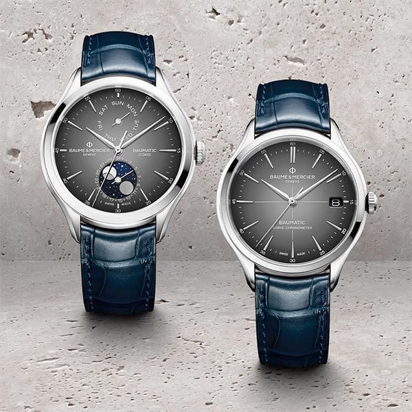 今年名士推出搭載新自製機芯的星期日期月相腕錶,月相盤做成半透明設計帶有透視的層次感。另外還有通過C.O.S.C.天文台認證的大三針日期款,兩款都搭上今年的灰面新色和藍色皮錶帶,整體調性年輕化了不少。建議售價NT$ 140,500(左)、NT$ 93,500(右)