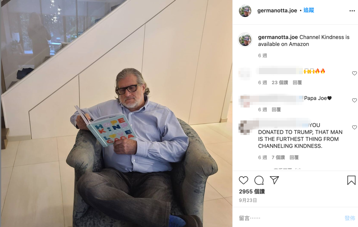 女神卡卡的老爸喬一直都很支持女兒的想法,但也認為自己想支持誰就支持誰。(翻攝自Joe Germanotta官方Instagram)