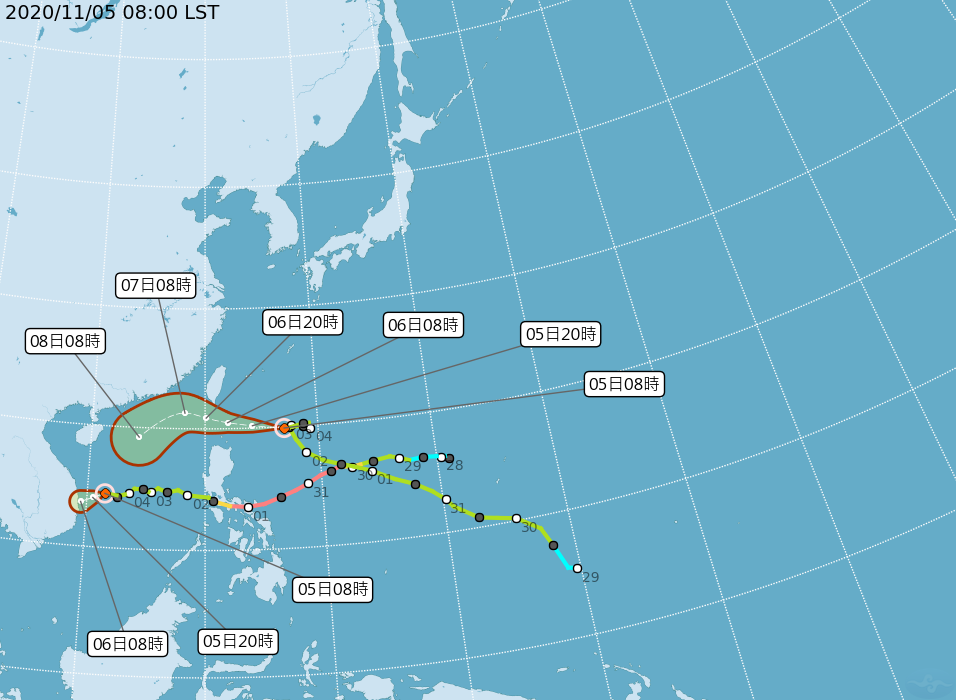 閃電颱風未來路徑偏北,氣象局不排除發布陸警。(翻攝自中央氣象局)
