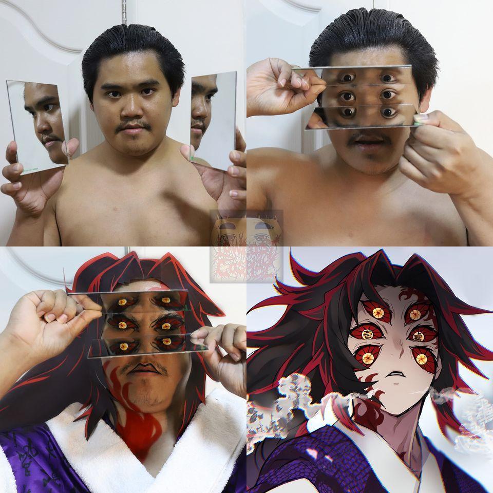 超強的上弦之壹「黑死牟」有6個眼睛,一樣用兩片鏡子就可以完美呈現!