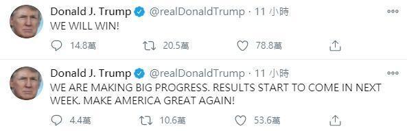川普昨晚再度推特連發,表示「取得重大進展」拒絕認識。(翻攝自川普推特)