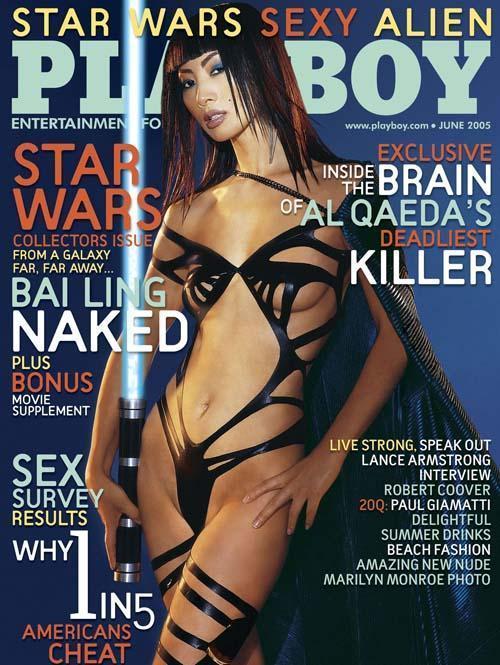 2005年白靈登上花花公子子雜誌,成為6月號的封面人物,她也是首位成為該雜誌封面女郎的華人演員。(網路圖片)