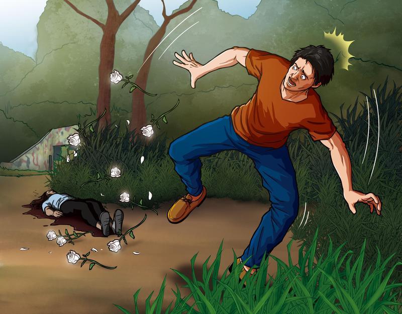 凶手在頭七當天重回現場,驚見腐爛的屍體,嚇得拋掉白玫瑰轉身逃離。