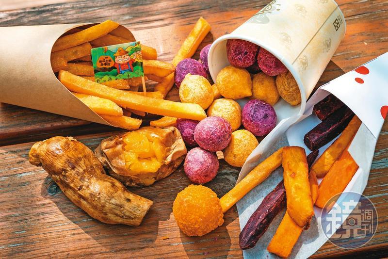 故事館現做的地瓜點心,有薯條、地瓜球等,地瓜球中有餡,很美味。(2號餐148元)