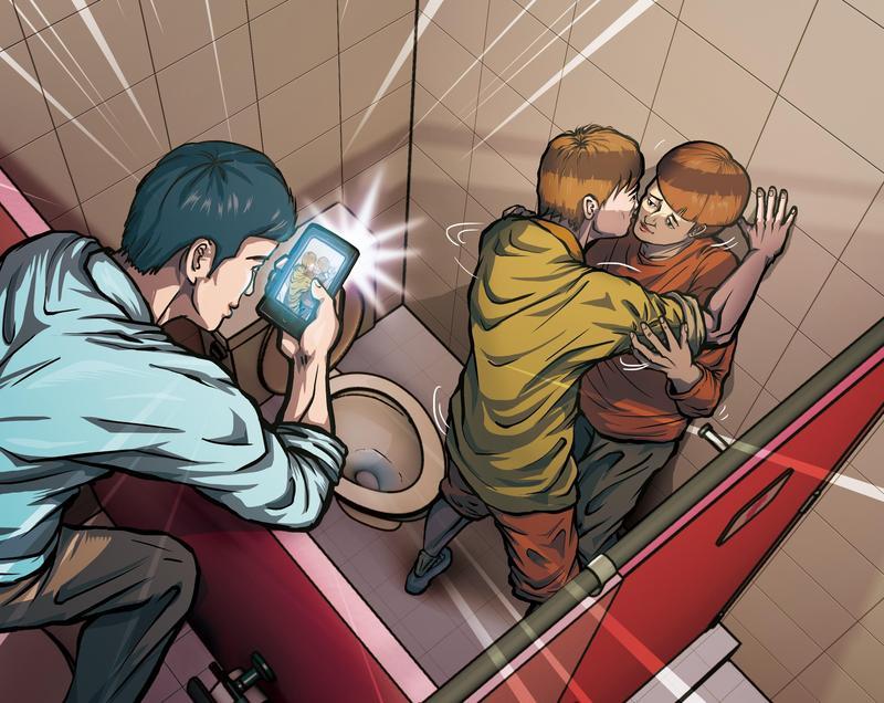 2名男高中生躲在女廁纏綿,陳姓男實習老師竟用手機偷錄性愛畫面,還猥褻其中1人,遭法院判刑。