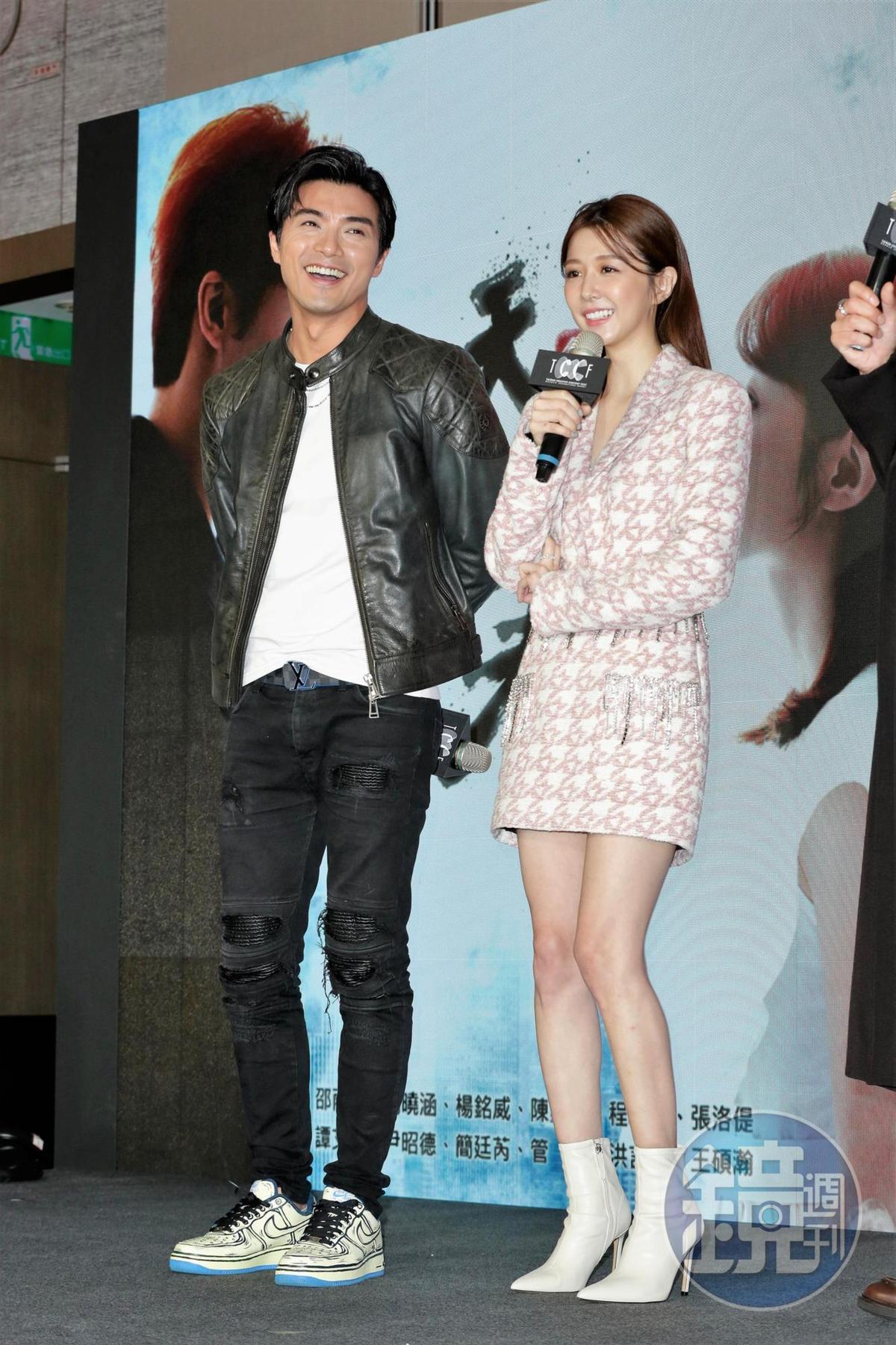 賀軍翔、邵雨薇一同出席台北電視節,為新戲《天巡者》宣傳。