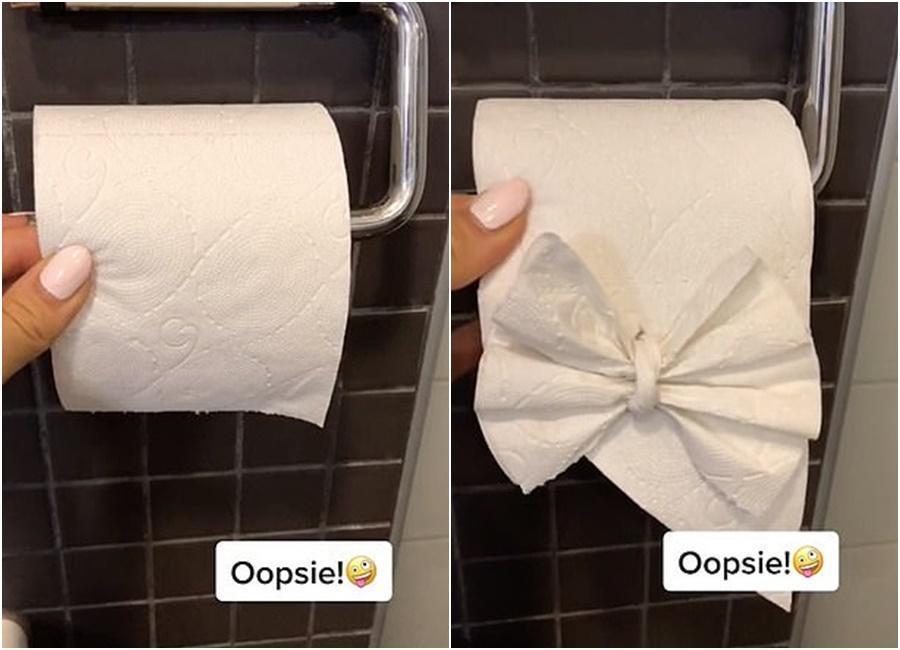 連廁所衛生紙都能摺成蝴蝶結。(翻攝抖音畫面)