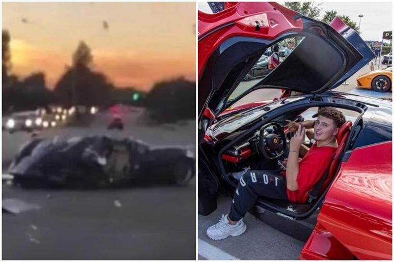富二代網紅Gage Gillean開父親的近億元超跑自撞路旁樹,他表示「車壞了可以換,我是無可取代的」。(翻攝自Bubba blue YouTube頻道、Gage Gillean IG)