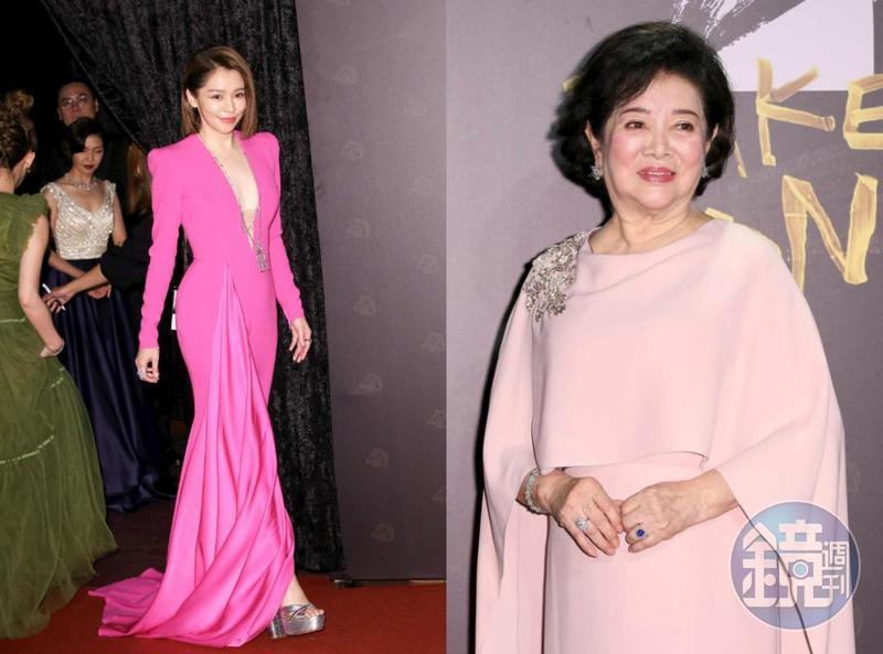 陳淑芳(右)與《孤味》監製徐若瑄(左)一起登上第57屆金馬獎紅毯,溫暖而典雅。