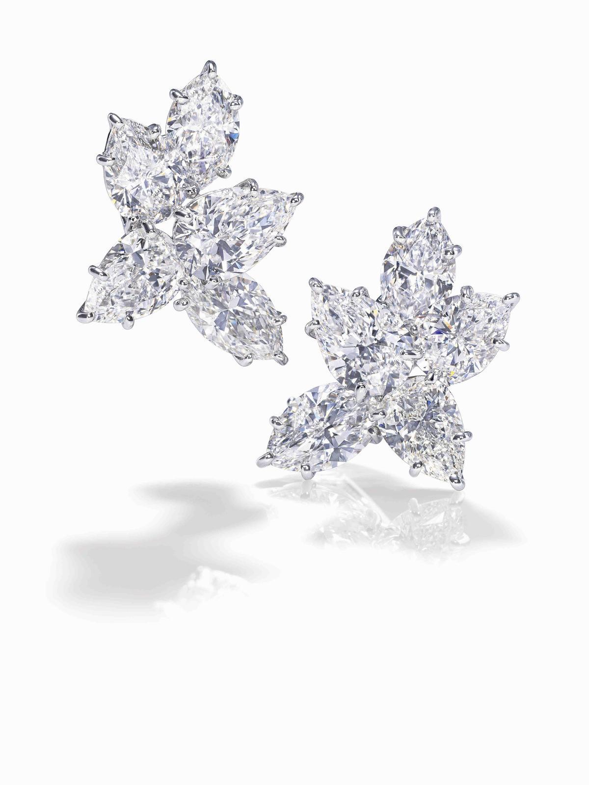 陳淑芳配戴Winston Cluster鑽石耳環,鑲嵌6顆總重約8.86克拉水滴型切工鑽石與4顆總重約5.69克拉馬眼型切工鑽石。(Harry Winston提供)