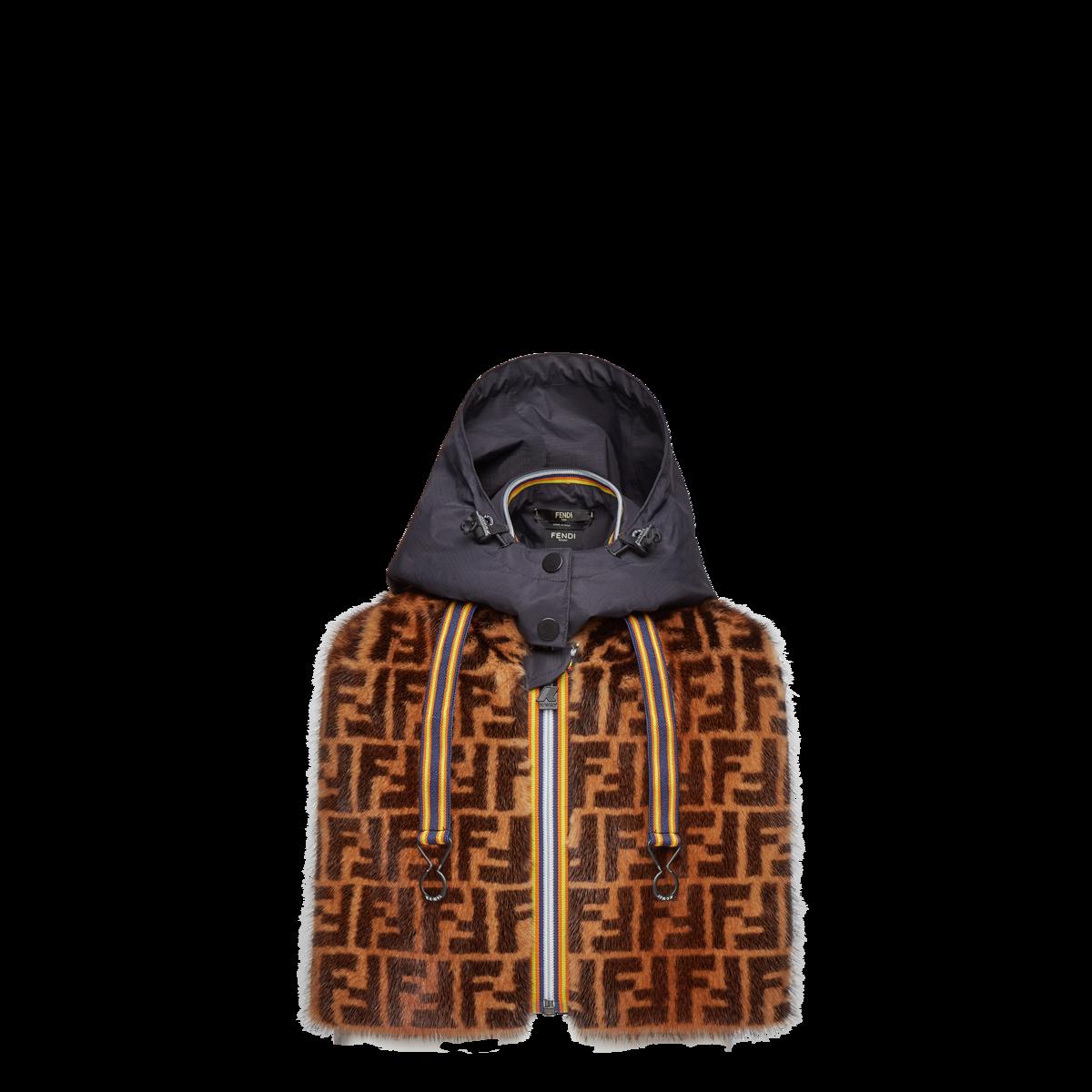 FENDI x K-Way水貂毛皮草 FF Logo短版飛行夾克 價格店洽。(FENDI提供)