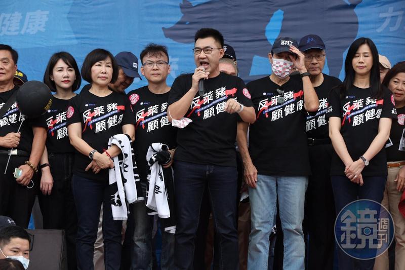 江啟臣在遊行隊伍出發前致詞,邀請蔡英文總統應針對萊豬議題進行一場電視辯論,更嗆聲表示「不辯論,就下台!」