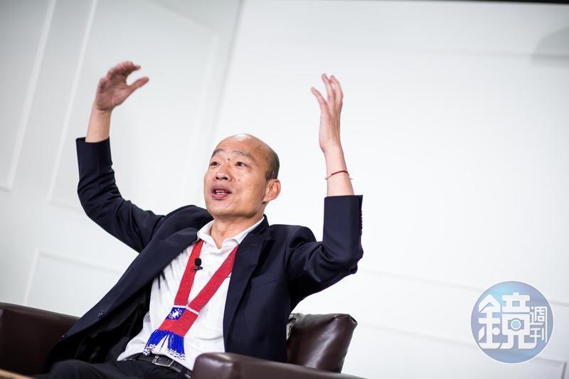 韓國瑜未現身秋鬥遊行,不過他在臉書上發表談話,痛批民進黨剝奪台灣的言論自由、毒害人民的身體健康。(本刊資料照)