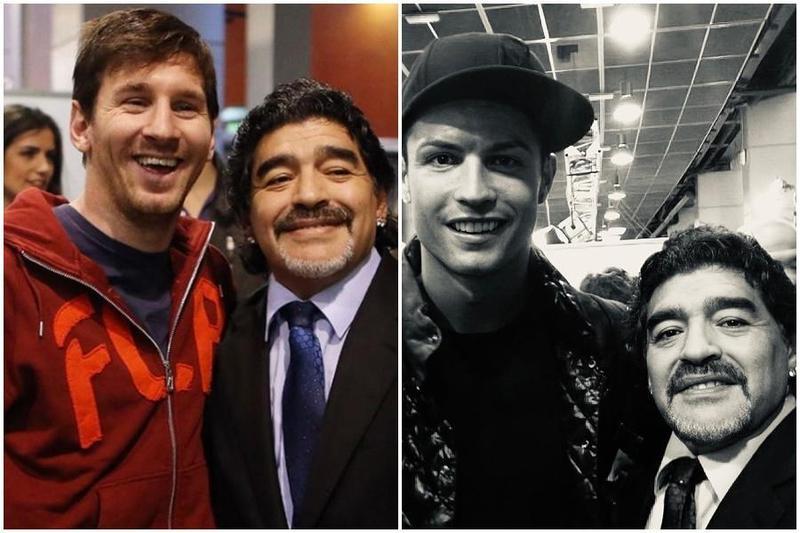 阿根廷足球巨星馬拉度納今凌晨因心臟病逝世,眾球星紛紛表示哀悼,梅西(左)、C羅(右)也稱其「永垂不朽,世人永難忘」。(翻攝自Lionel Messi IG、Cristiano Ronaldo推特)