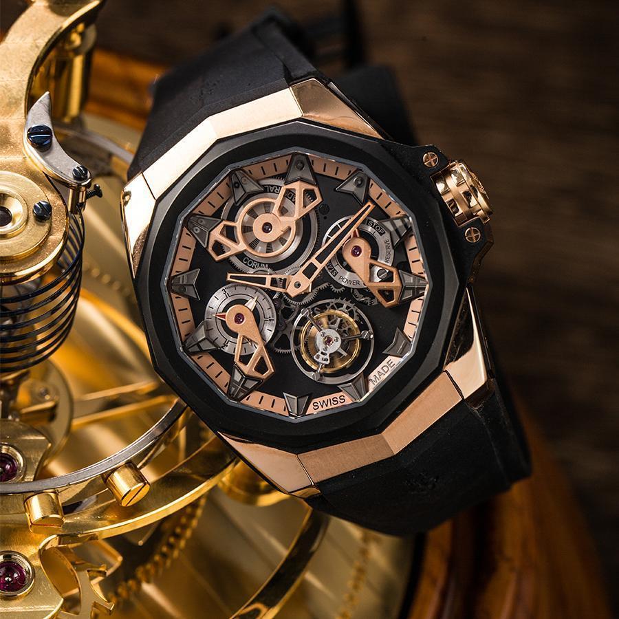 Admiral Ac-One 45 Openworked Tourbillon 錶徑45mm/18K玫瑰金材質/時間指示、動力儲存指示、陀飛輪裝置/CO 298自動上鏈機芯/防水100米/限量18只/建議售價NT$ 2,330,000