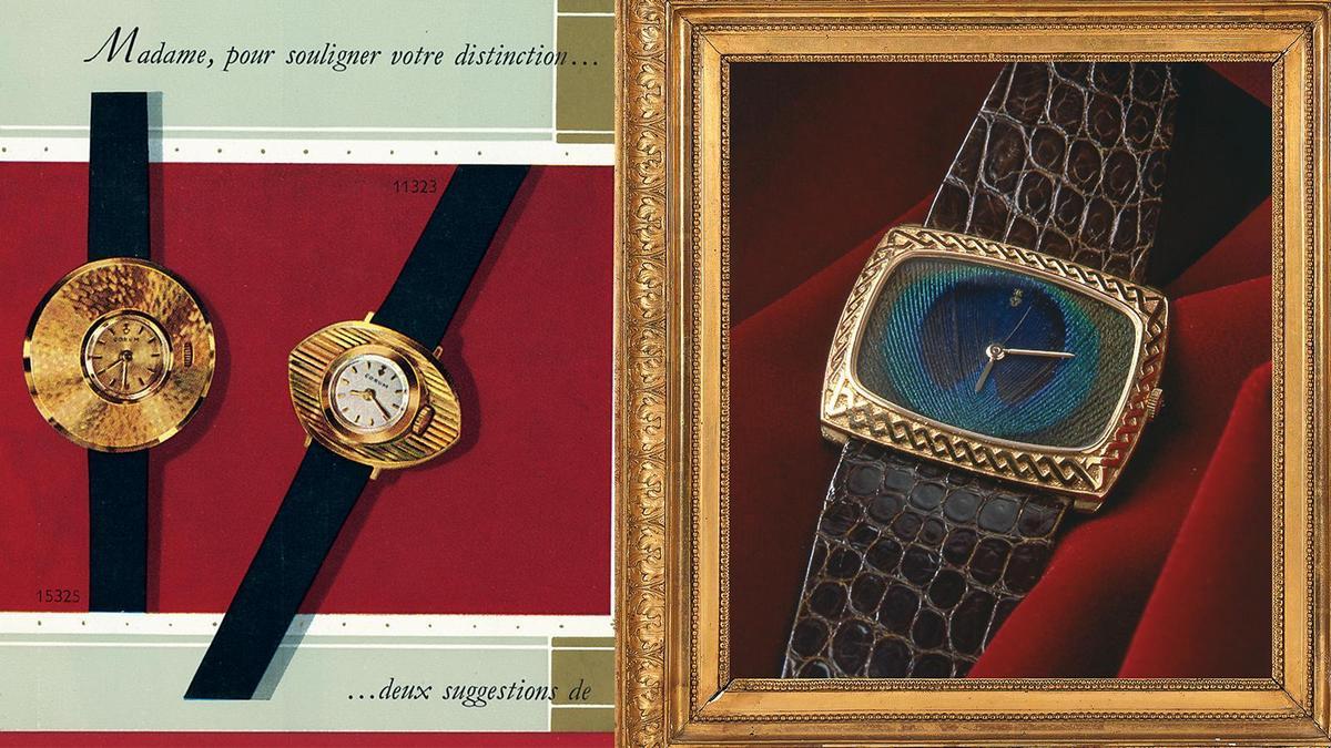 1958年推出錶圈很像斗笠的Chinese Hat中國帽子腕錶(圖左),現在看來都還是覺得滿前衛。而現在工藝錶款用到的羽毛鑲嵌面盤(圖右),崑崙錶也早在1970年就已經做過了。