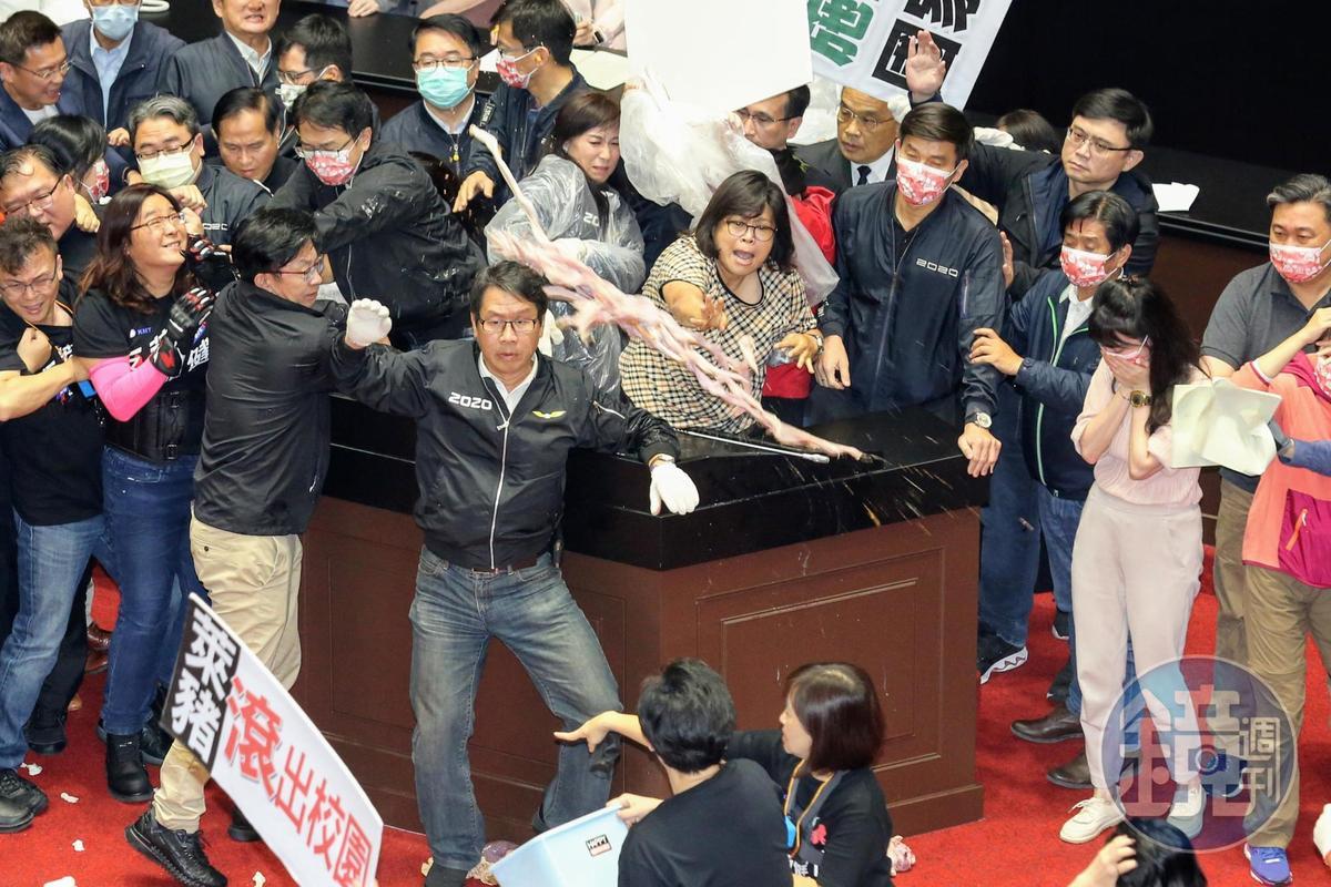 綠委王美惠將豬腸丟回給國民黨立委。