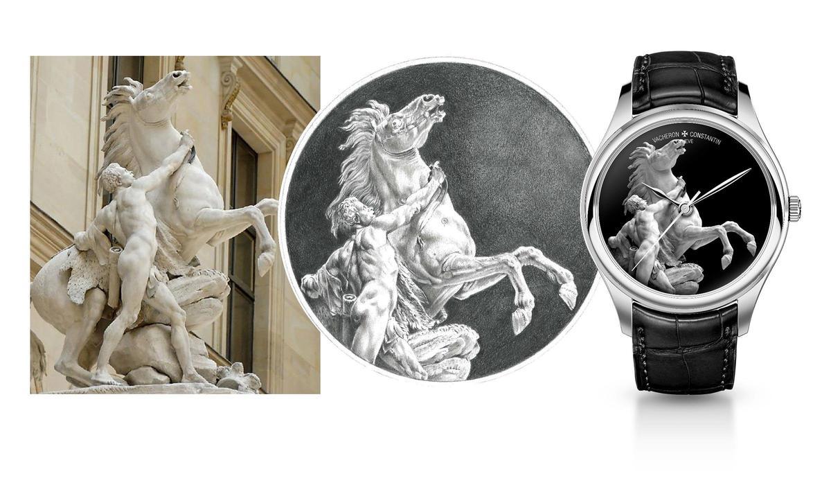 此圖演繹了江詩丹頓如何將雕塑品變身成腕錶面盤圖案。雖然在此江詩丹頓建議雕塑品以灰階琺瑯呈現,但最終決定權仍在得標者身上。