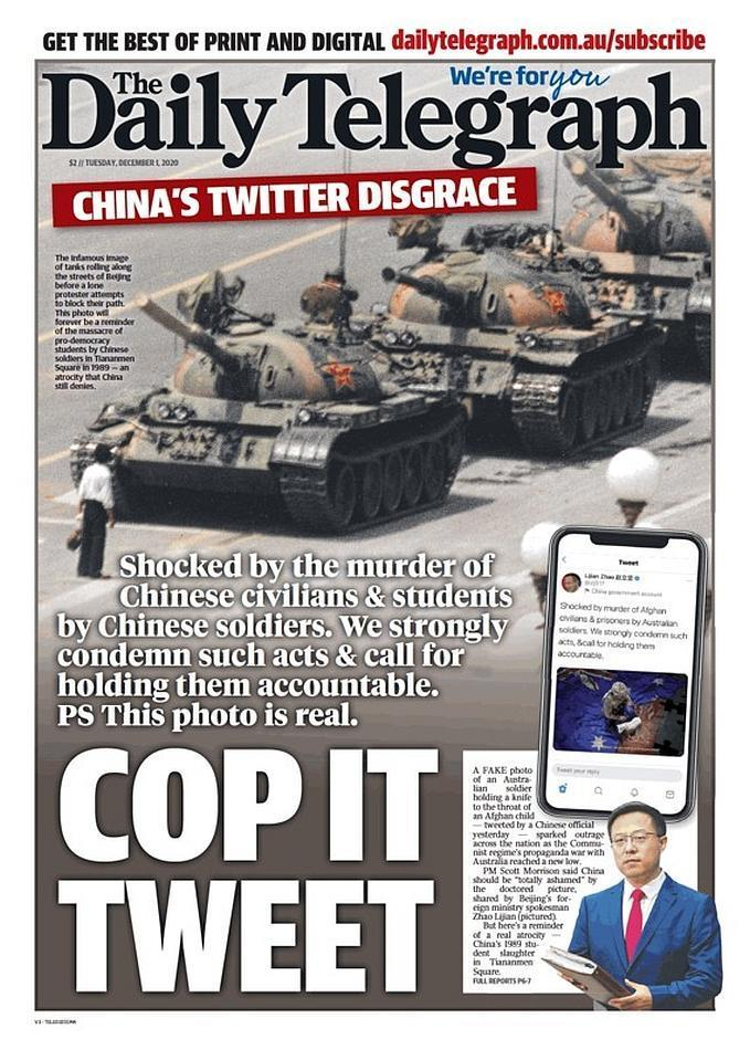 面對趙立堅的推特發文,澳媒刊登六四坦克人照反擊。(翻攝自每日電訊報推特)